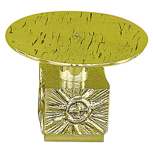Monstrance throne in fused brass wet in gold 14 cm- plate 18,5 cm 1