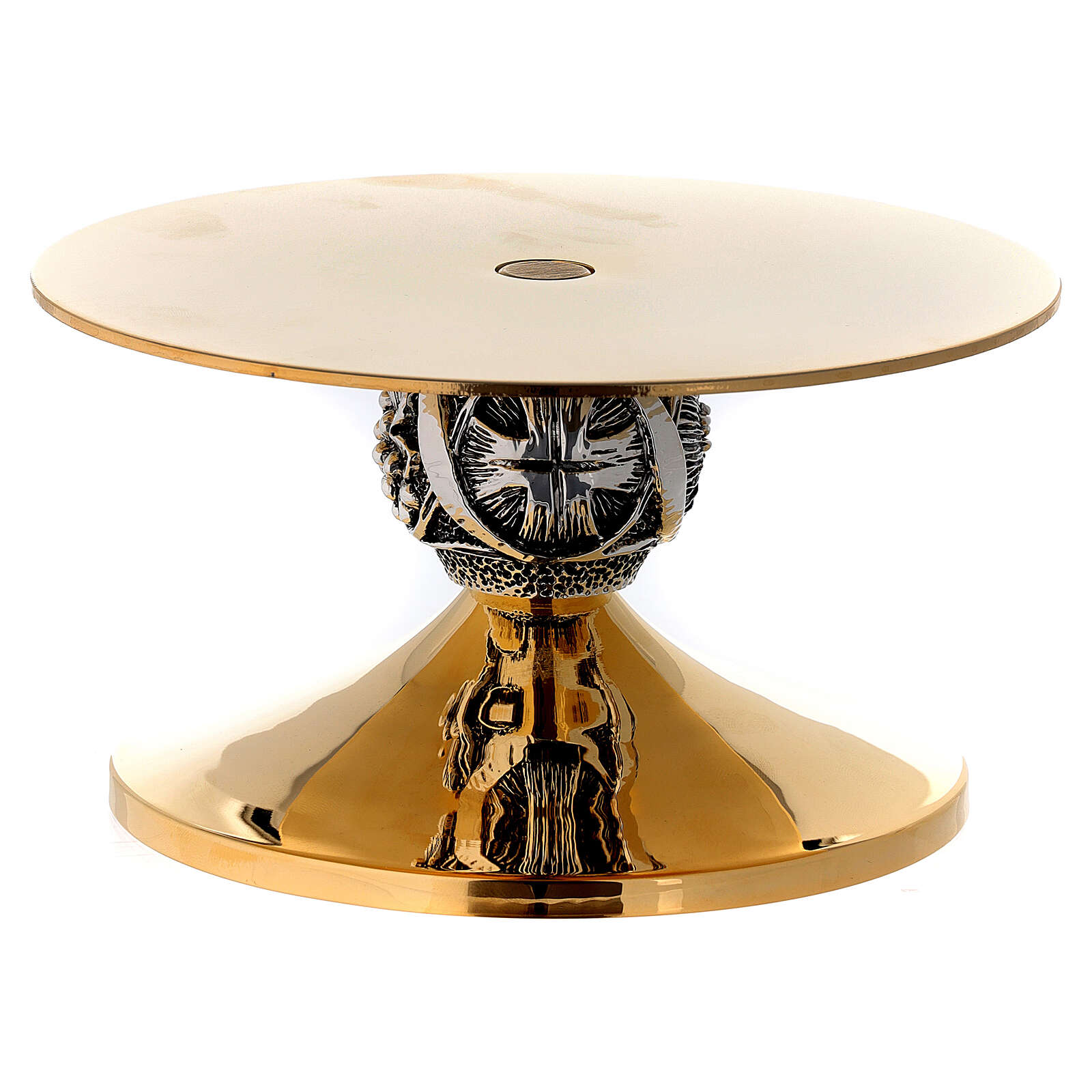 Monstrance stand with cross and grapes decoration, burnished effect diam. 14 cm 4
