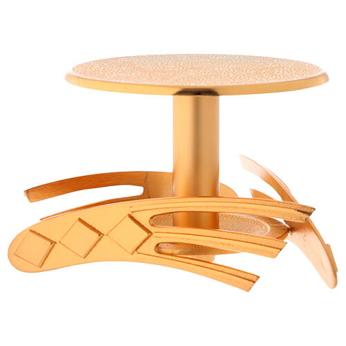 Base per ostensorio dorato in ottone fuso h 12 cm 3
