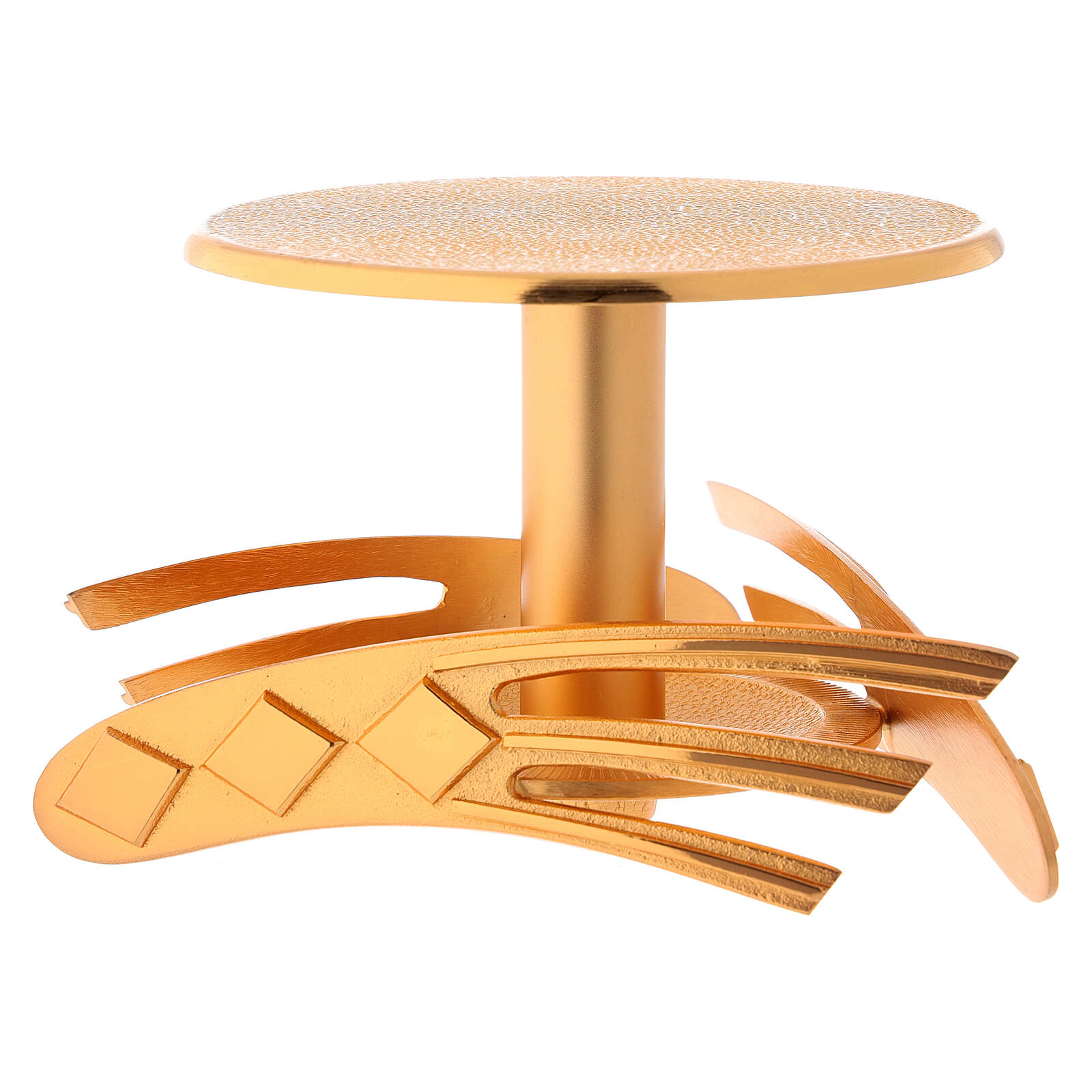 Ostensory base in golden cast brass, 12 cm high 4