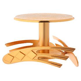 Ostensory base in golden cast brass, 12 cm high s1