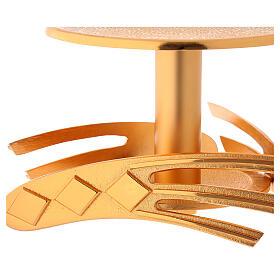 Ostensory base in golden cast brass, 12 cm high s2