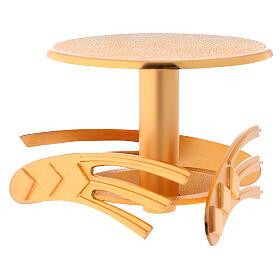 Ostensory base in golden cast brass, 12 cm high s4