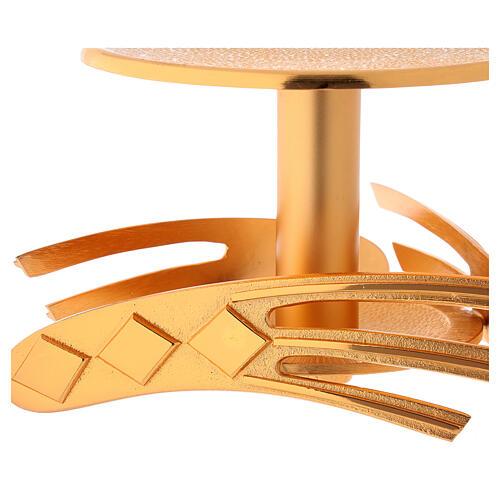 Ostensory base in golden cast brass, 12 cm high 2