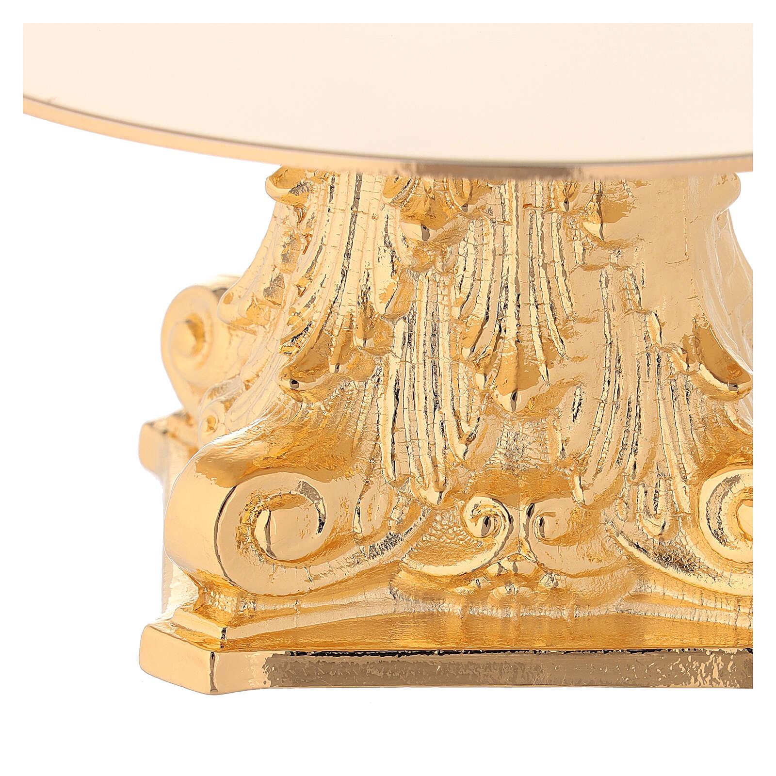 Monstrance in golden brass, capital-shaped 4