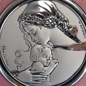 Médaille pour berceau coeur rose avec carillon Vierge à l'Enfant s2