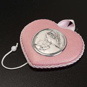 Médaille pour berceau coeur rose avec carillon Vierge à l'Enfant s3