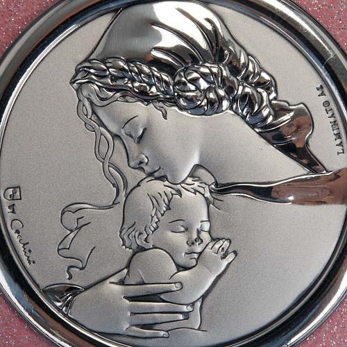 Médaille pour berceau coeur rose avec carillon Vierge à l'Enfant 2