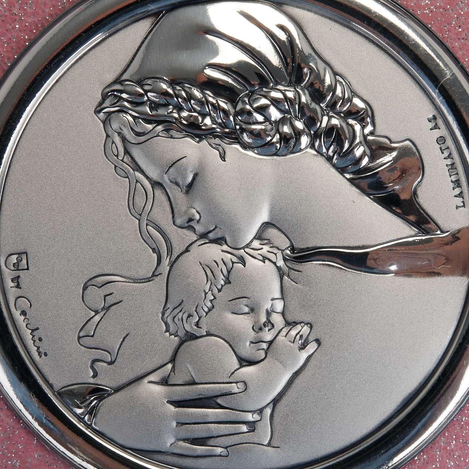 Medalhão de berço coração cor-de-rosa Virgem com Menino 4