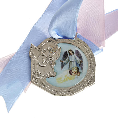 Medal, cradle decoration with double ribbon and baby 1