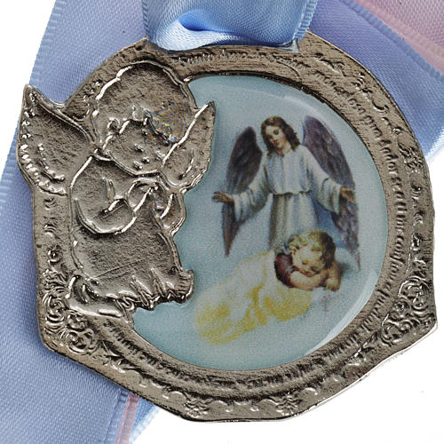Medal, cradle decoration with double ribbon and baby 2