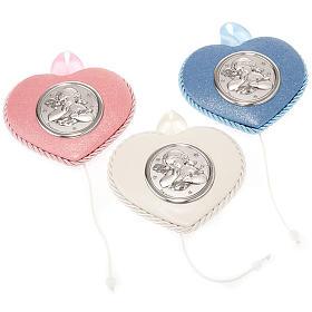 Medalhões e Medalhas para Berço: Medalhão berço coração anjo com estrelas