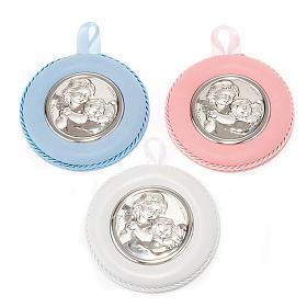 Medalhões e Medalhas para Berço: Medalhão de berço redondo Anjo com menino