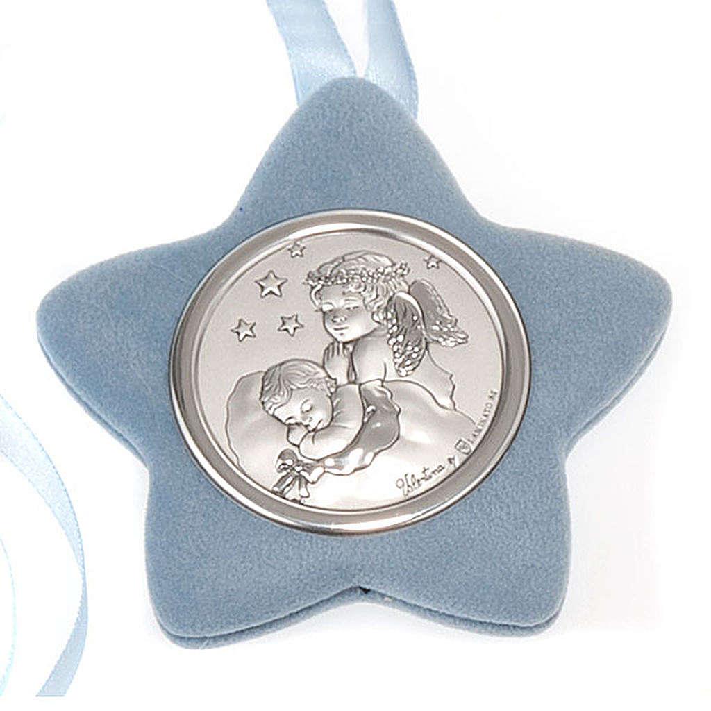 Medalla para cuna estrella Ángel rezando con el Niño 4
