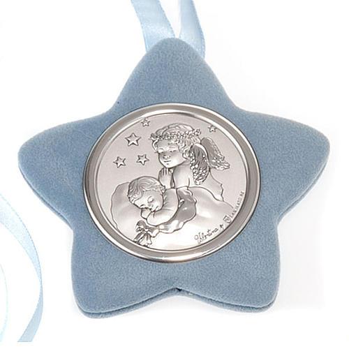 Medalla para cuna estrella Ángel rezando con el Niño 2