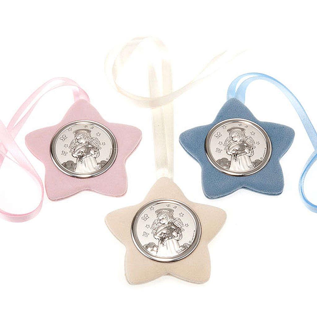 Medalla para cuna Ángel con lira forma estrella 4