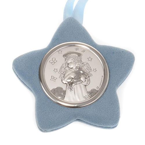 Medalla para cuna Ángel con lira forma estrella 2
