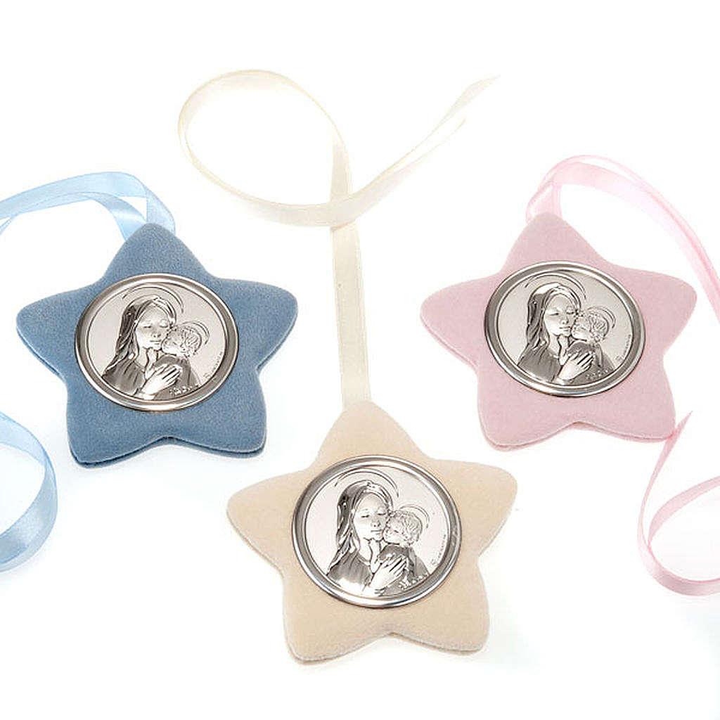 Medalla para cuna Virgen con el Niño forma estrella 4