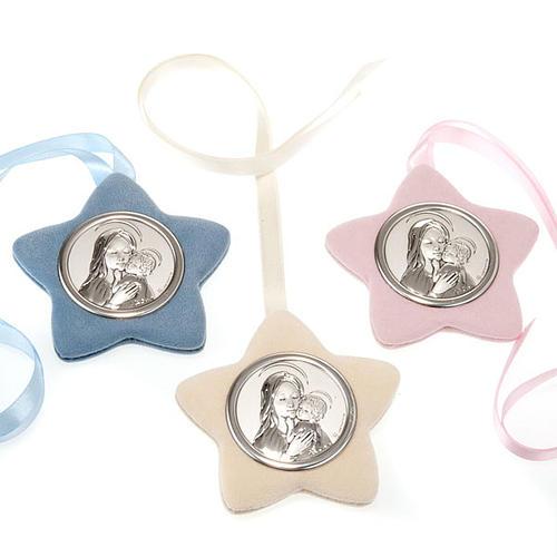 Medalla para cuna Virgen con el Niño forma estrella 1