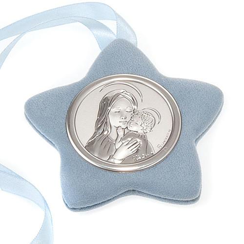Medalla para cuna Virgen con el Niño forma estrella 2