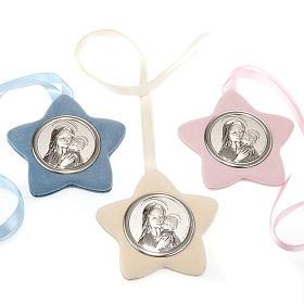 Medalhões e Medalhas para Berço: Medalhão berço estrela Virgem com Menino