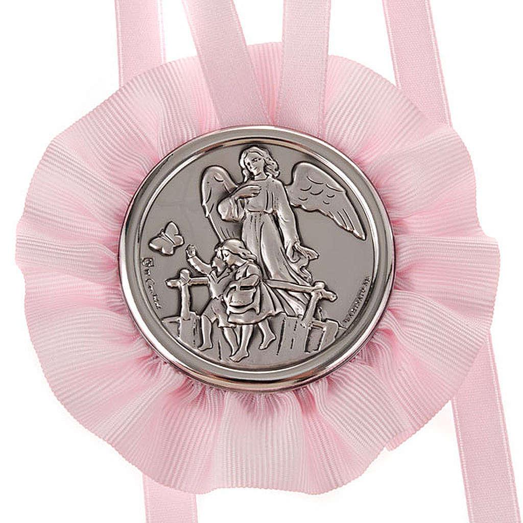 Medalla para cuna Ángel de la Guarda con 2 niños 4