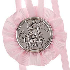 Medalla para cuna Ángel de la Guarda con 2 niños s2