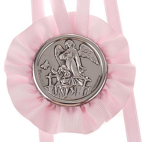 Medalla para cuna Ángel de la Guarda con 2 niños 2
