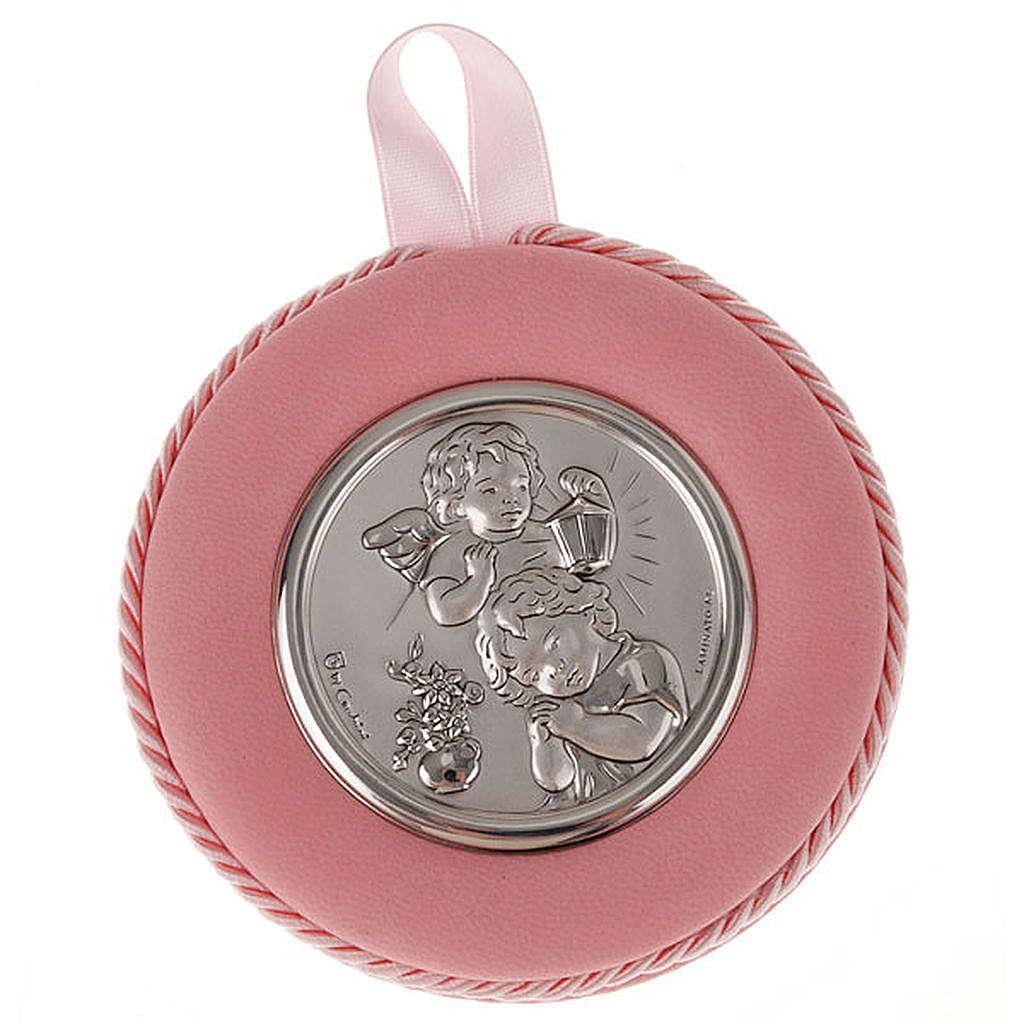 Medalla para cuna redondo Ángel con el Niño y faro 4