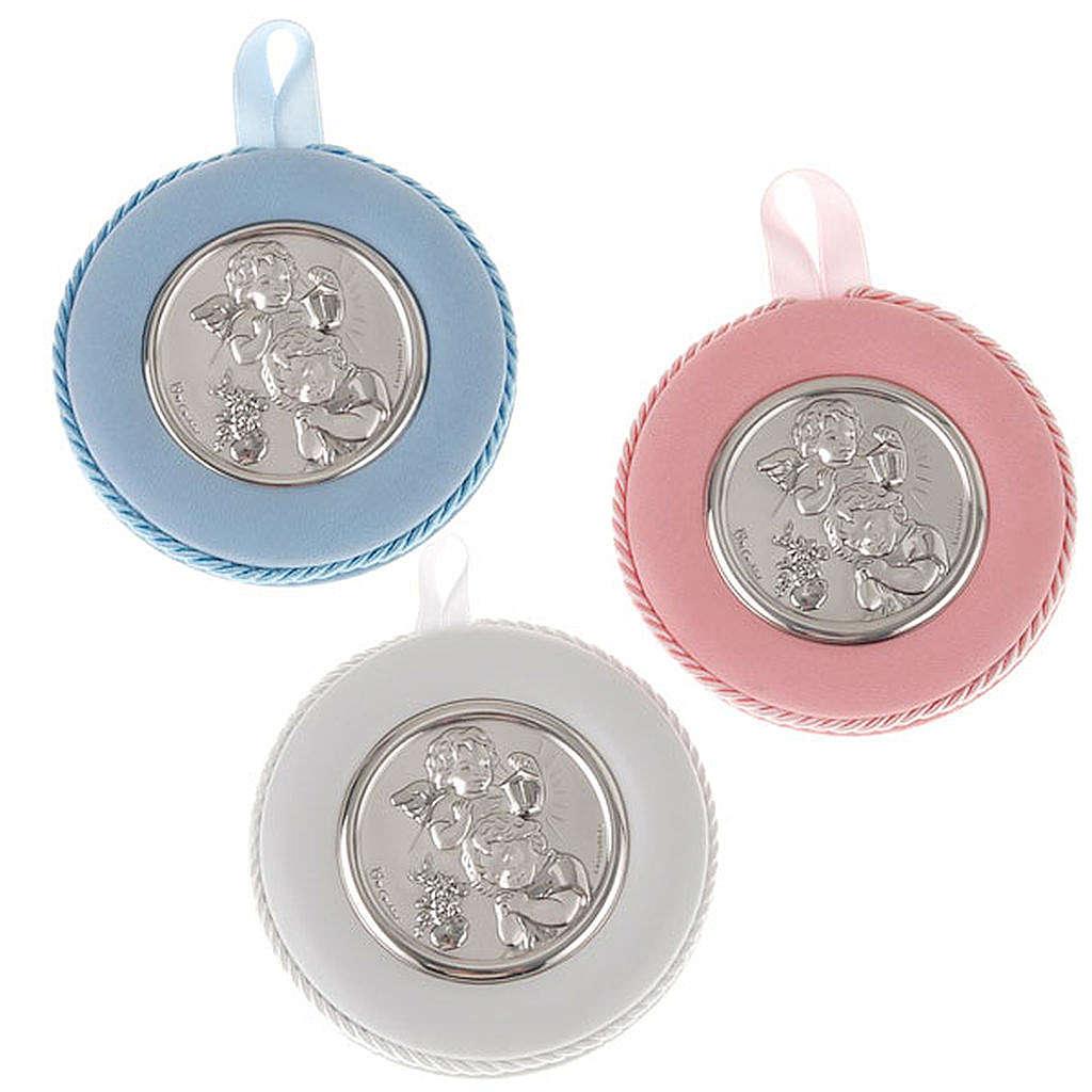 Obrazek nad kołyskę okrągły Anioł z dzieckiem i latarnią 4