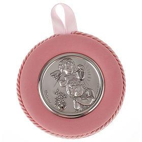 Obrazek nad kołyskę okrągły Anioł z dzieckiem i latarnią s2