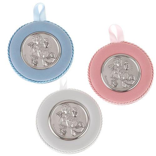 Obrazek nad kołyskę okrągły Anioł z dzieckiem i latarnią 1