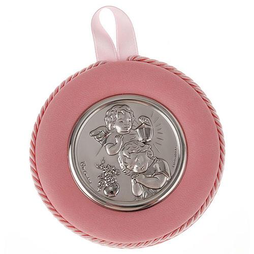 Obrazek nad kołyskę okrągły Anioł z dzieckiem i latarnią 2