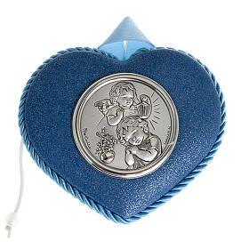 Medalla para cuna azul corazón con Ángel y Niño s1