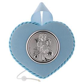 Medalla para cuna azul corazón Ángel y Niño con carillón s1