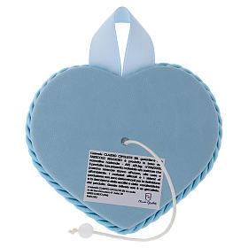 Medalla para cuna azul corazón Ángel y Niño con carillón s2