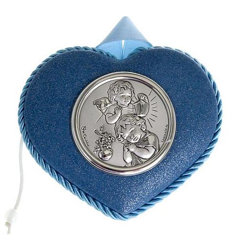 Medalla para cuna azul corazón con Ángel y Niño 1