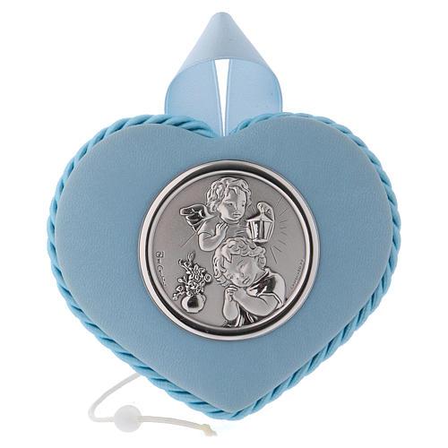 Medalla para cuna azul corazón Ángel y Niño con carillón 1