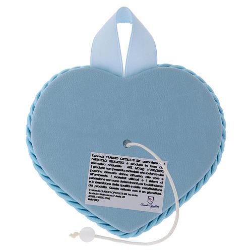 Medalla para cuna azul corazón Ángel y Niño con carillón 2
