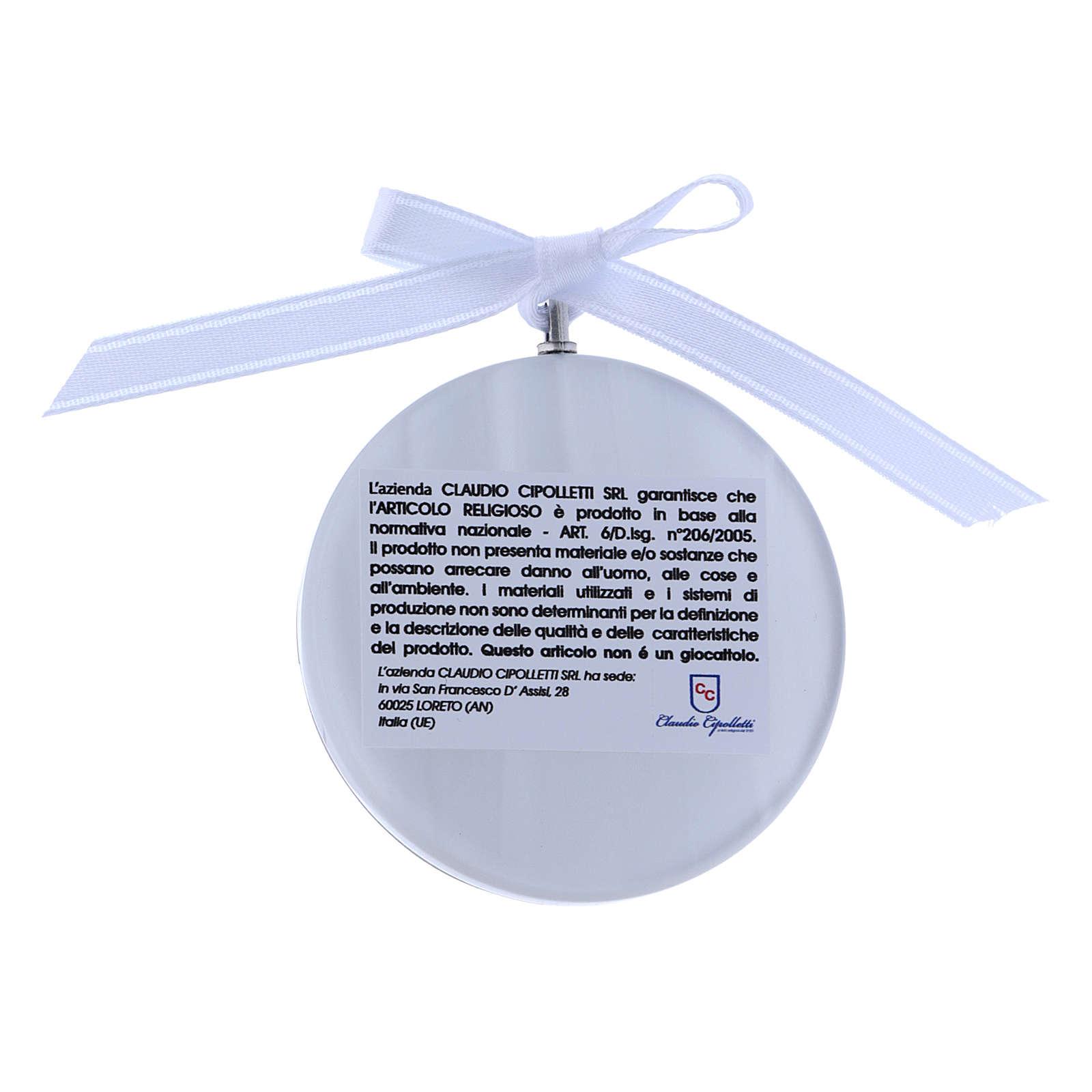 Medalla para cuna redonda Ángel cinta blanca 4
