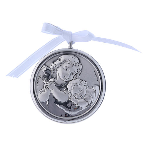 Medalla para cuna redonda Ángel cinta blanca 1