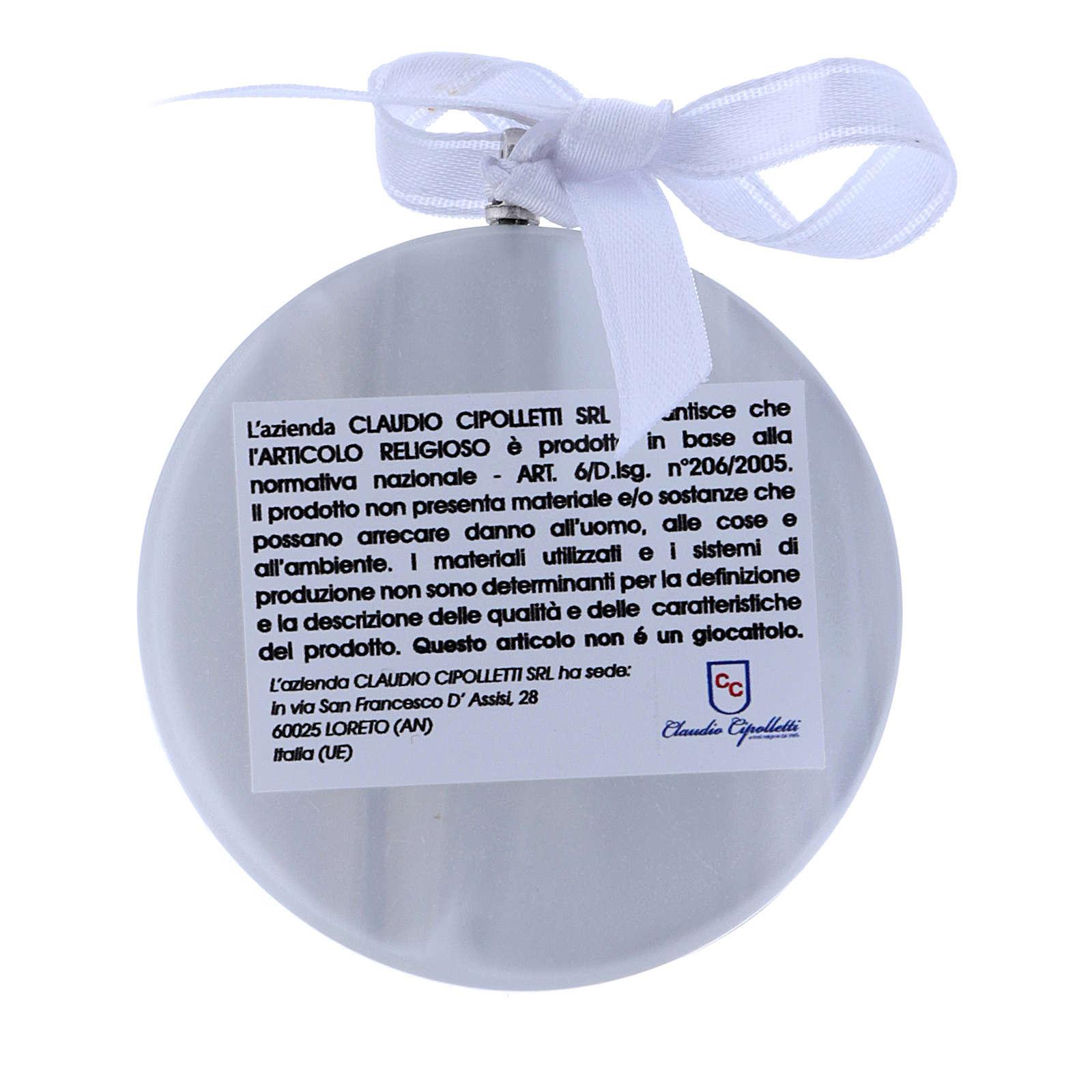 Medalla para cuna Ángeles linterna redonda cinta blanca 4