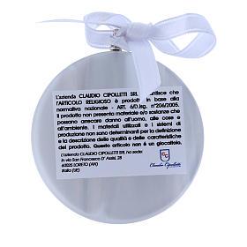 Medalla para cuna Ángeles linterna redonda cinta blanca s2