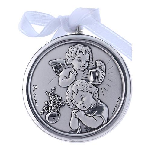 Medalla para cuna Ángeles linterna redonda cinta blanca 1
