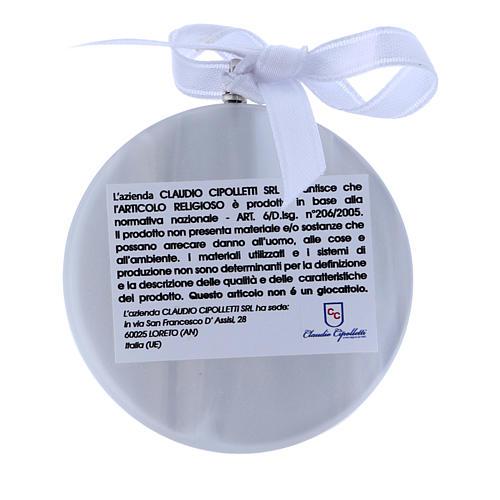 Medalla para cuna Ángeles linterna redonda cinta blanca 2