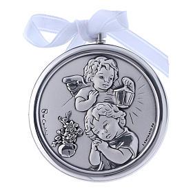Medalhões e Medalhas para Berço: Medalhão berço Anjo lanterna redondo fita branca