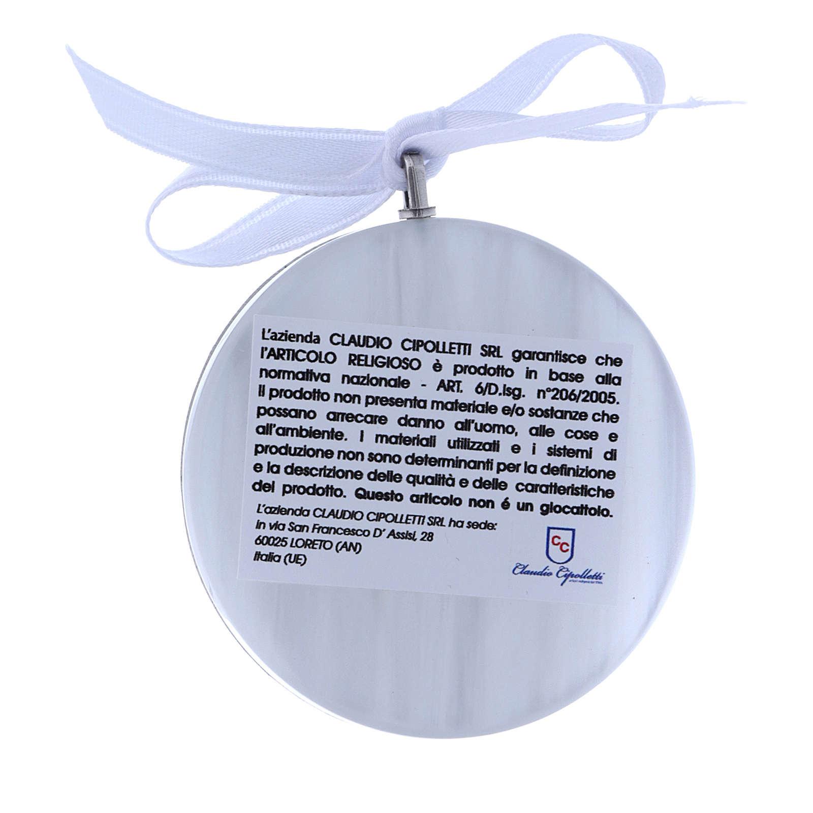 Medalla para cuna redonda bilaminado Virgen niño cinta blanca 4