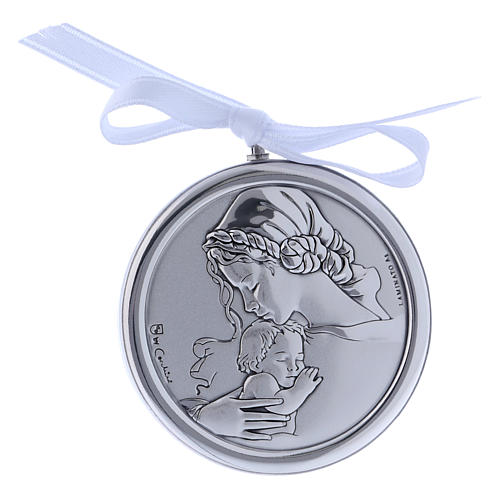 Medalla para cuna redonda bilaminado Virgen niño cinta blanca 1