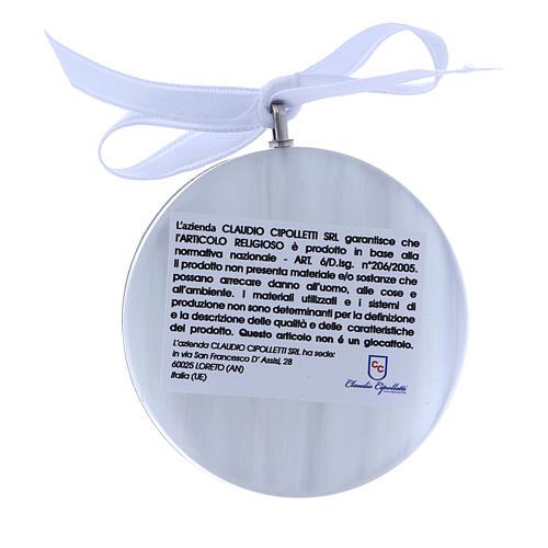 Medalla para cuna redonda bilaminado Virgen niño cinta blanca 2