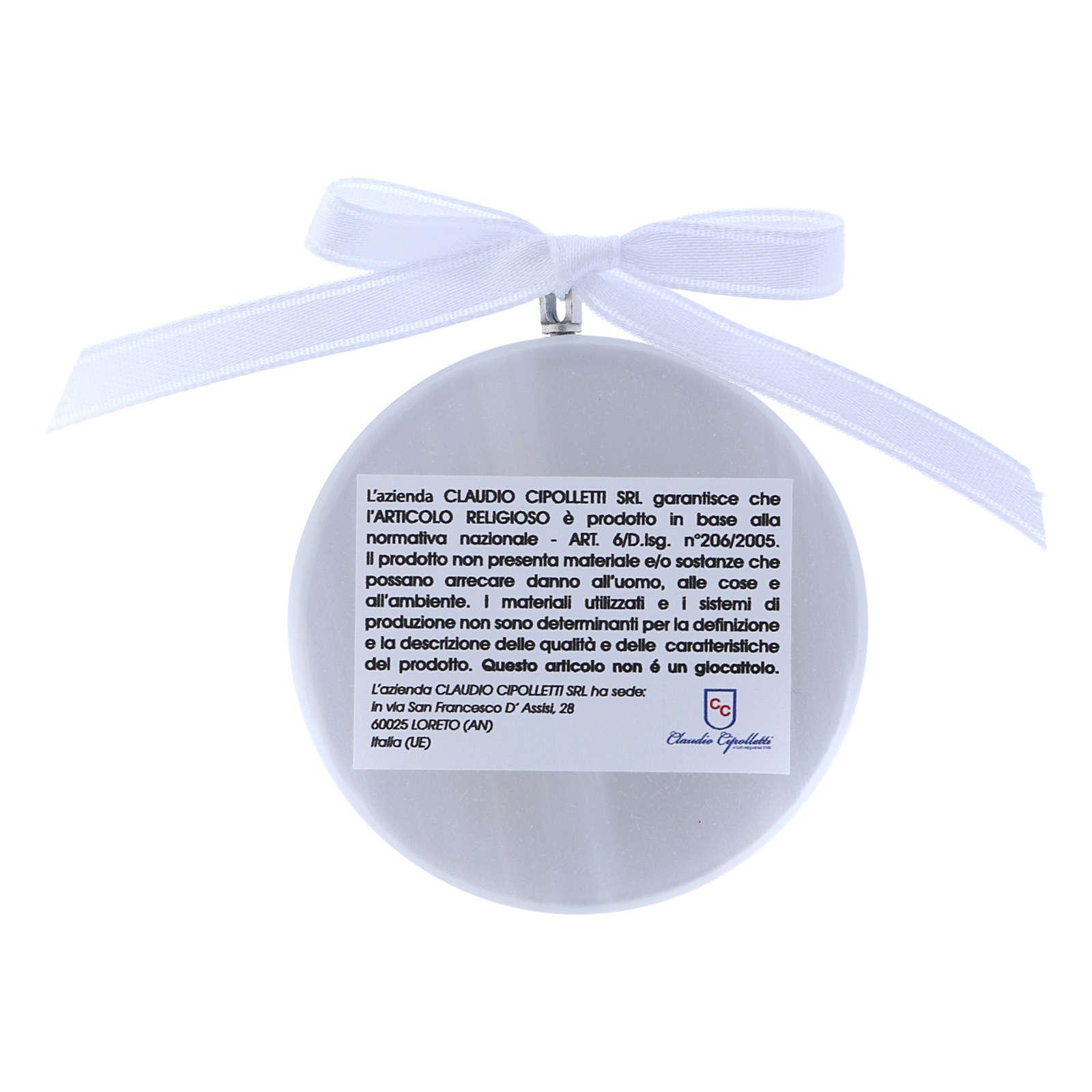 Medalla para cuna redonda Virgen Ferruzzi cinta blanca 4
